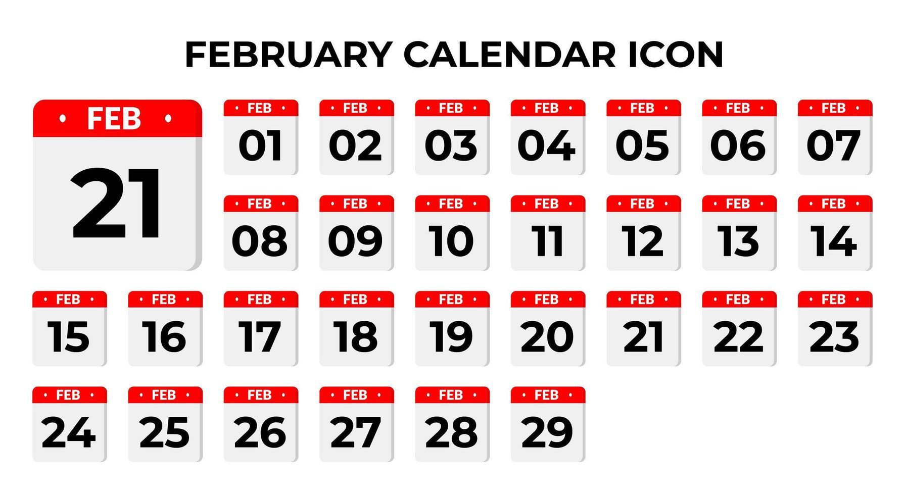 icônes de calendrier de février vecteur
