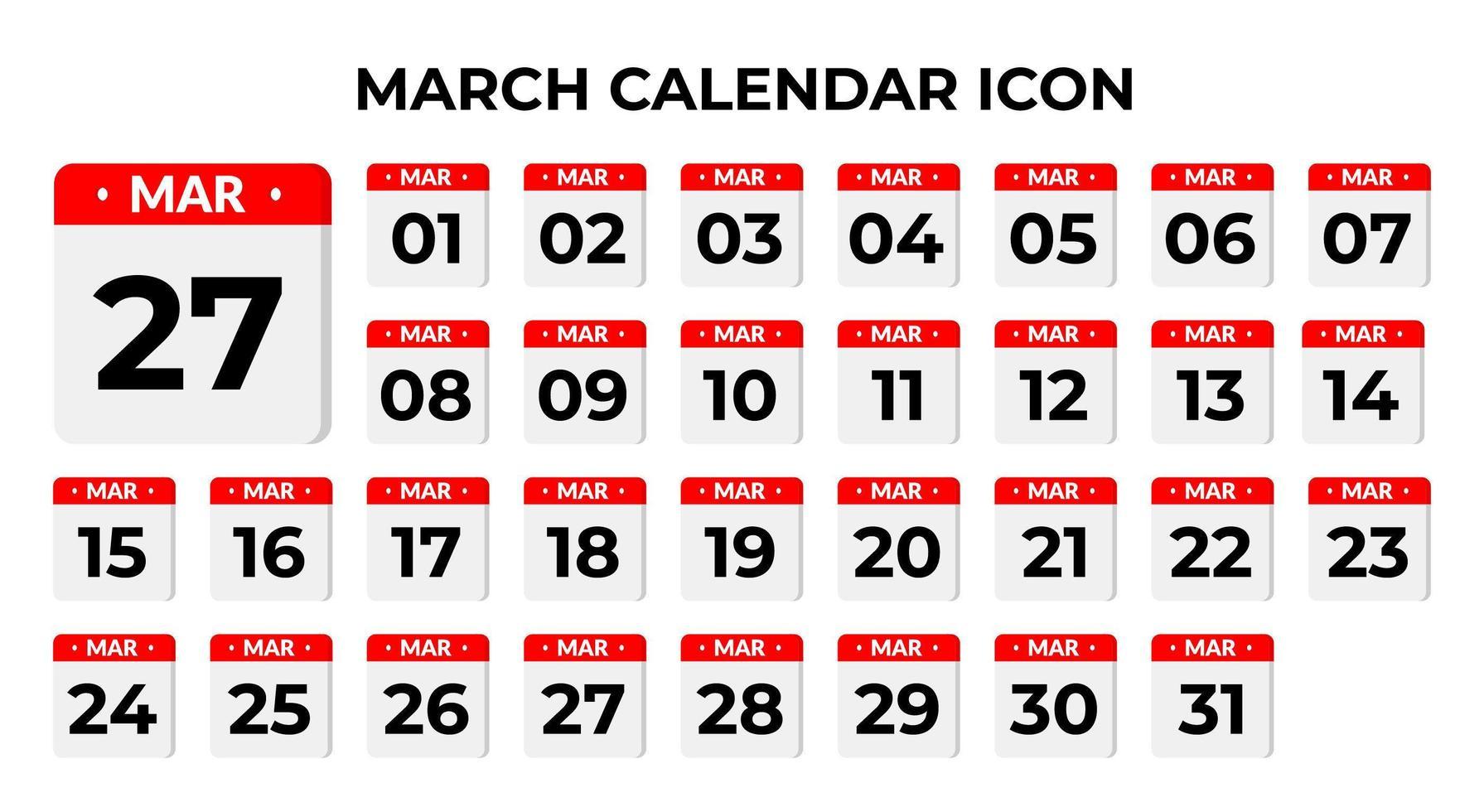 icônes de calendrier de mars vecteur