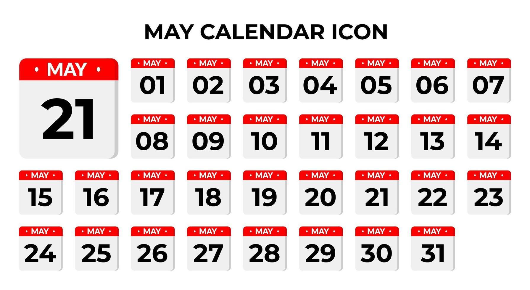 icônes de calendrier mai vecteur
