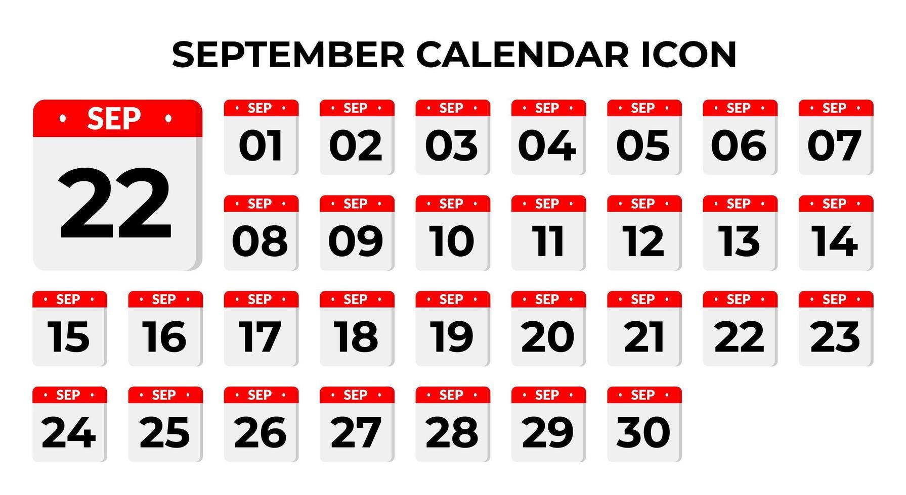 icônes de calendrier de septembre vecteur