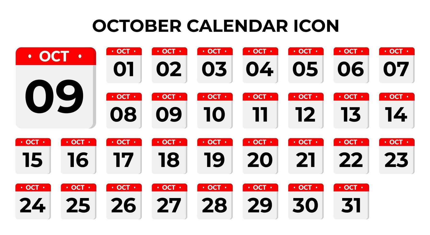icônes de calendrier octobre vecteur