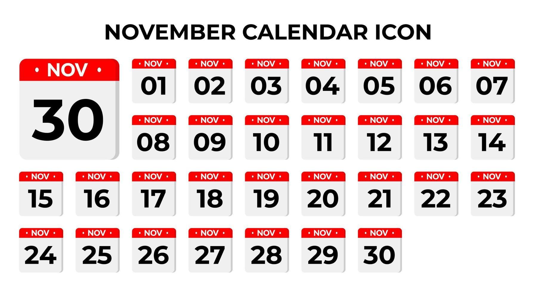 icônes de calendrier de novembre vecteur