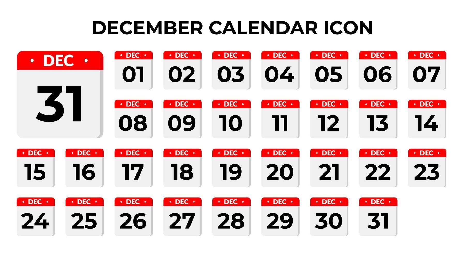icônes de calendrier de décembre vecteur