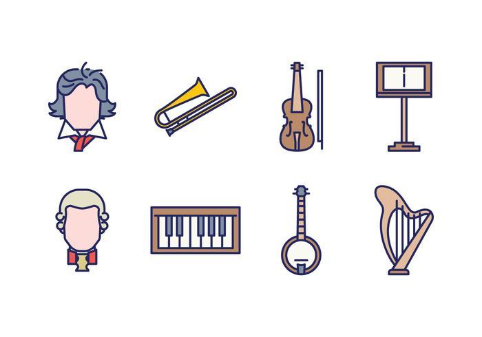 Icônes de musique classique gratuites vecteur