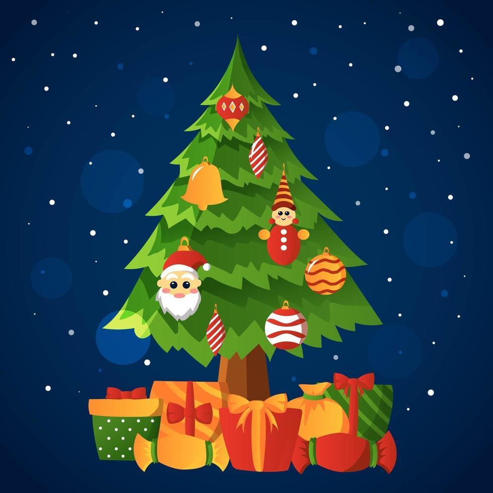 décoration d'arbre de Noël dans la nuit enneigée vecteur