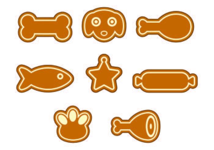 Ensemble d'icônes de biscuits pour chien vecteur