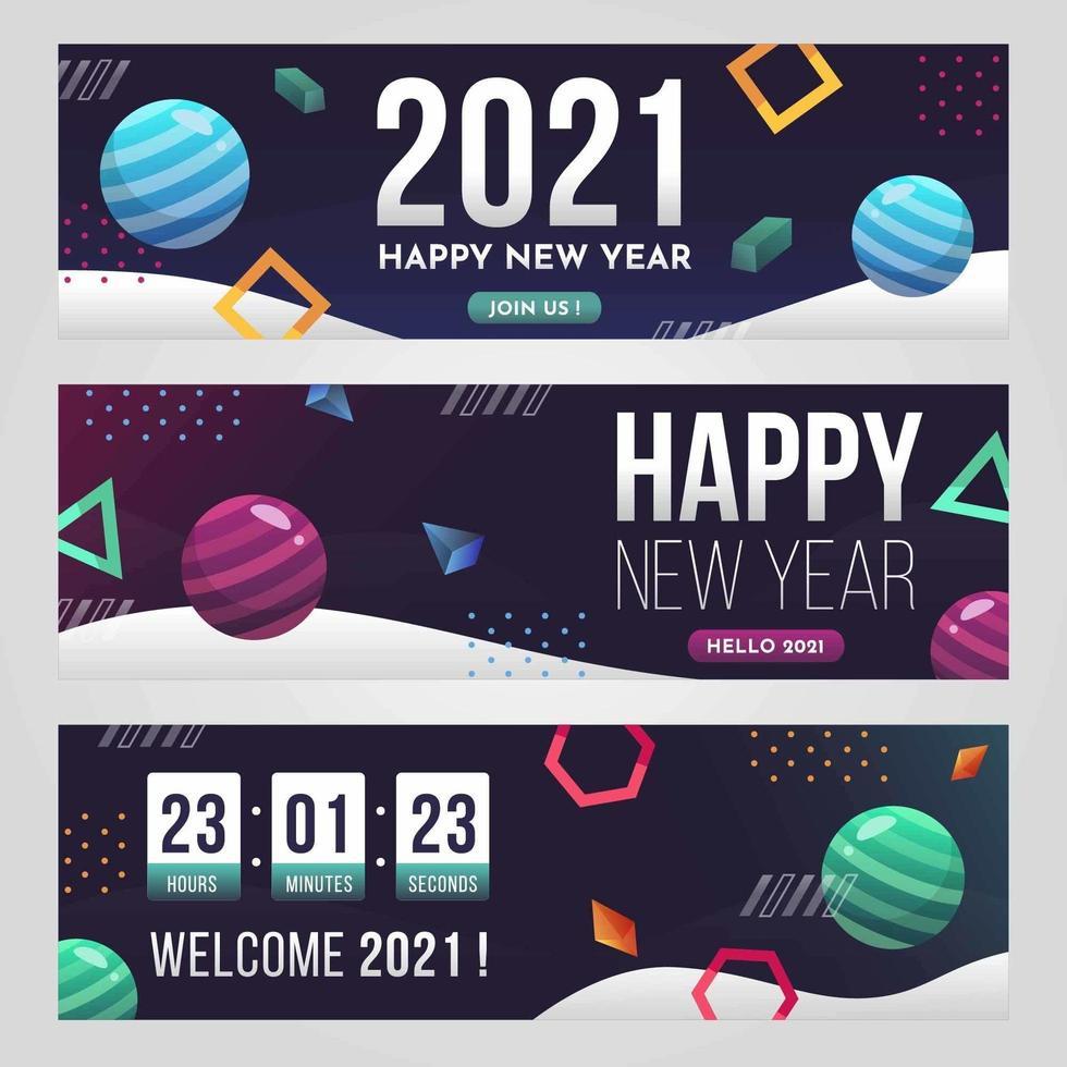 bannière de nouvel an géométrique futuriste 2021 vecteur