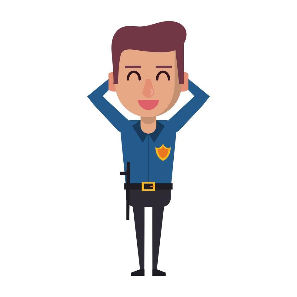 policier de dessin animé travaillant vecteur