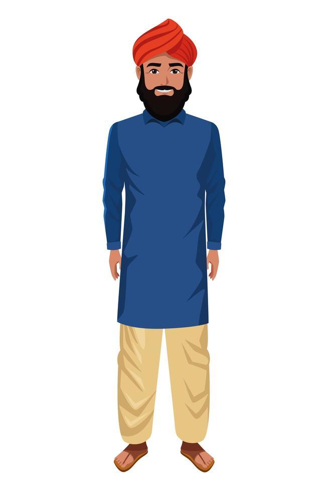 homme indien portant des vêtements traditionnels hindous vecteur