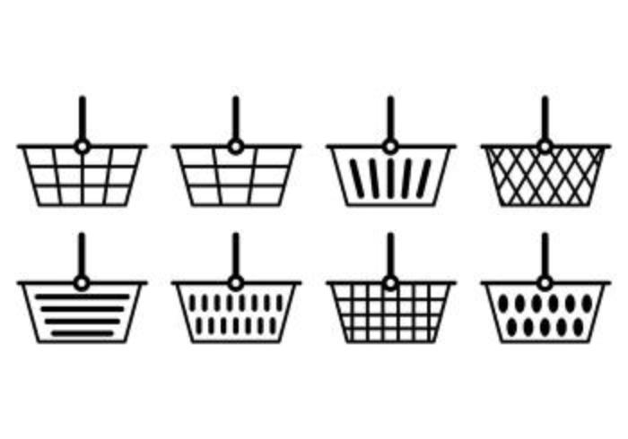 Ensemble d'icônes de panier de supermarché vecteur