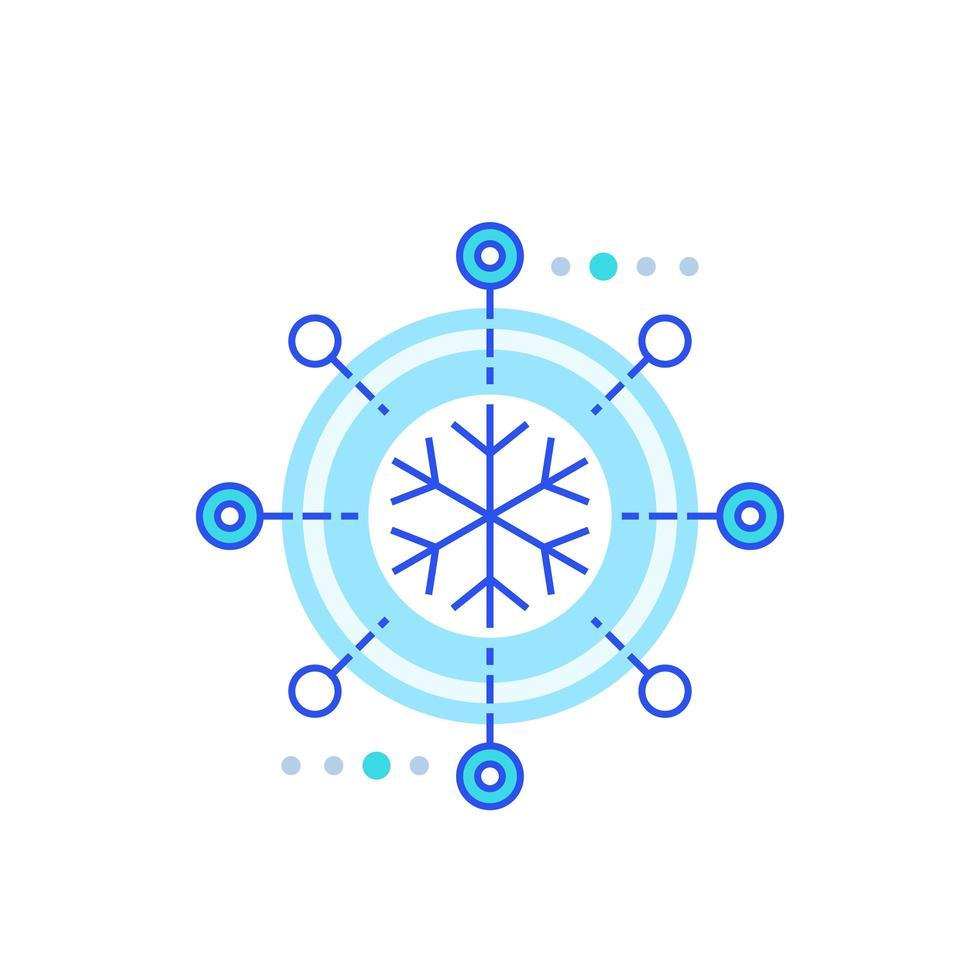 refroidissement, icône de congélation sur blanc vecteur