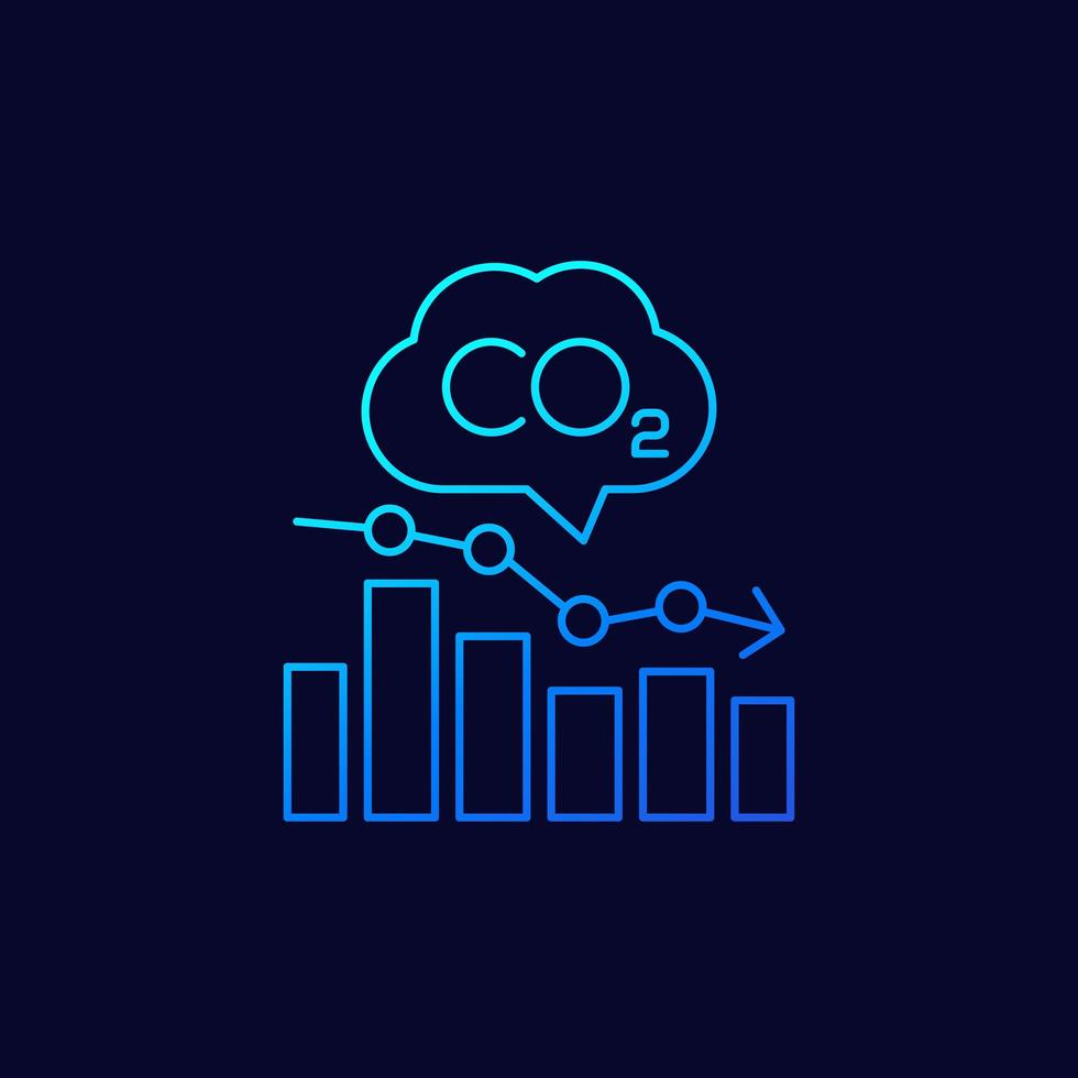 Co2, icône linéaire du graphique des niveaux d'émissions de carbone vecteur