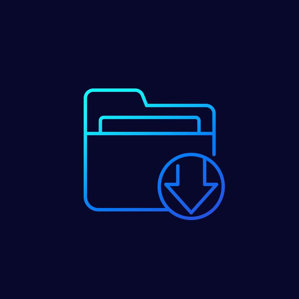 icône de ligne de dossier de téléchargement vecteur
