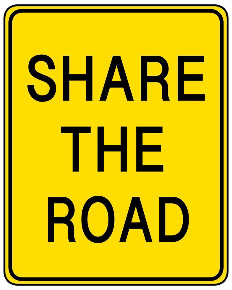 partager le panneau routier jaune sur fond blanc vecteur