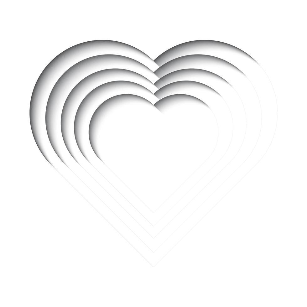 papier découpé fond, forme de coeur vecteur