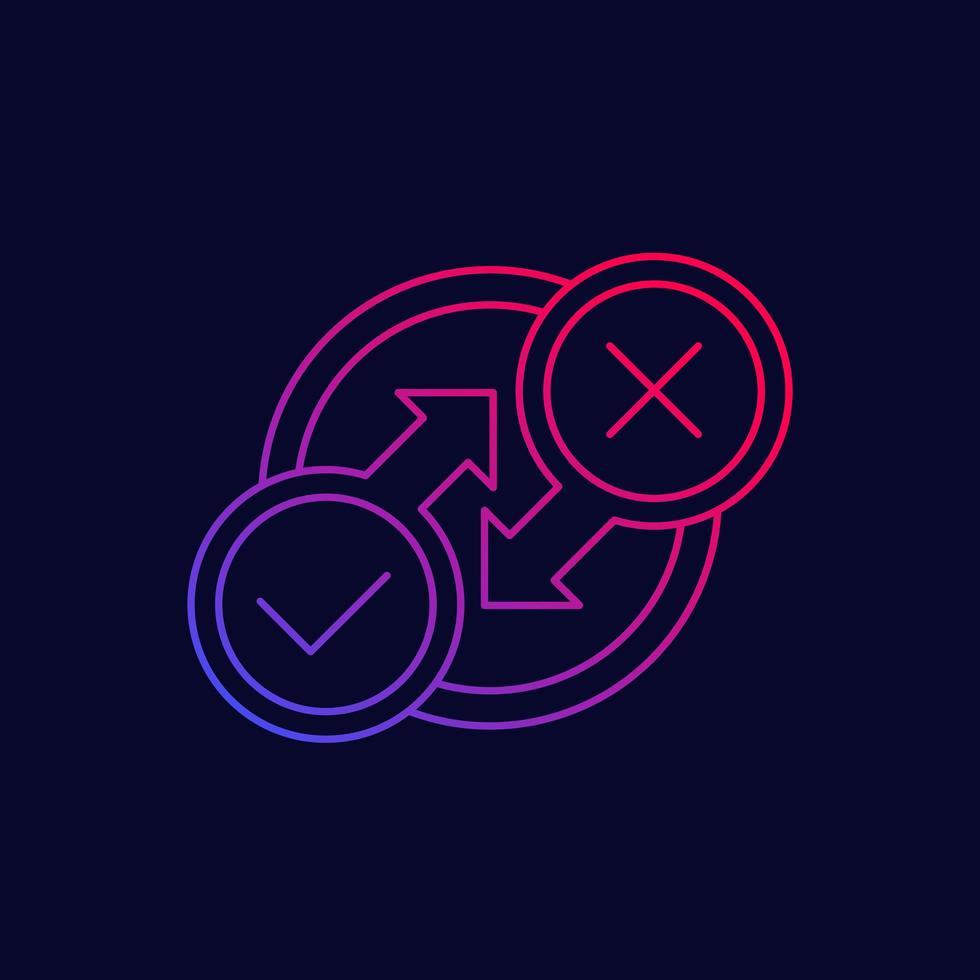 icône de processus linéaire avec coche et croix vecteur