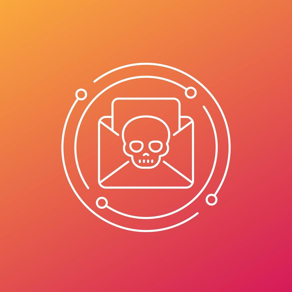 email avec virus, icône de ligne de malware vecteur