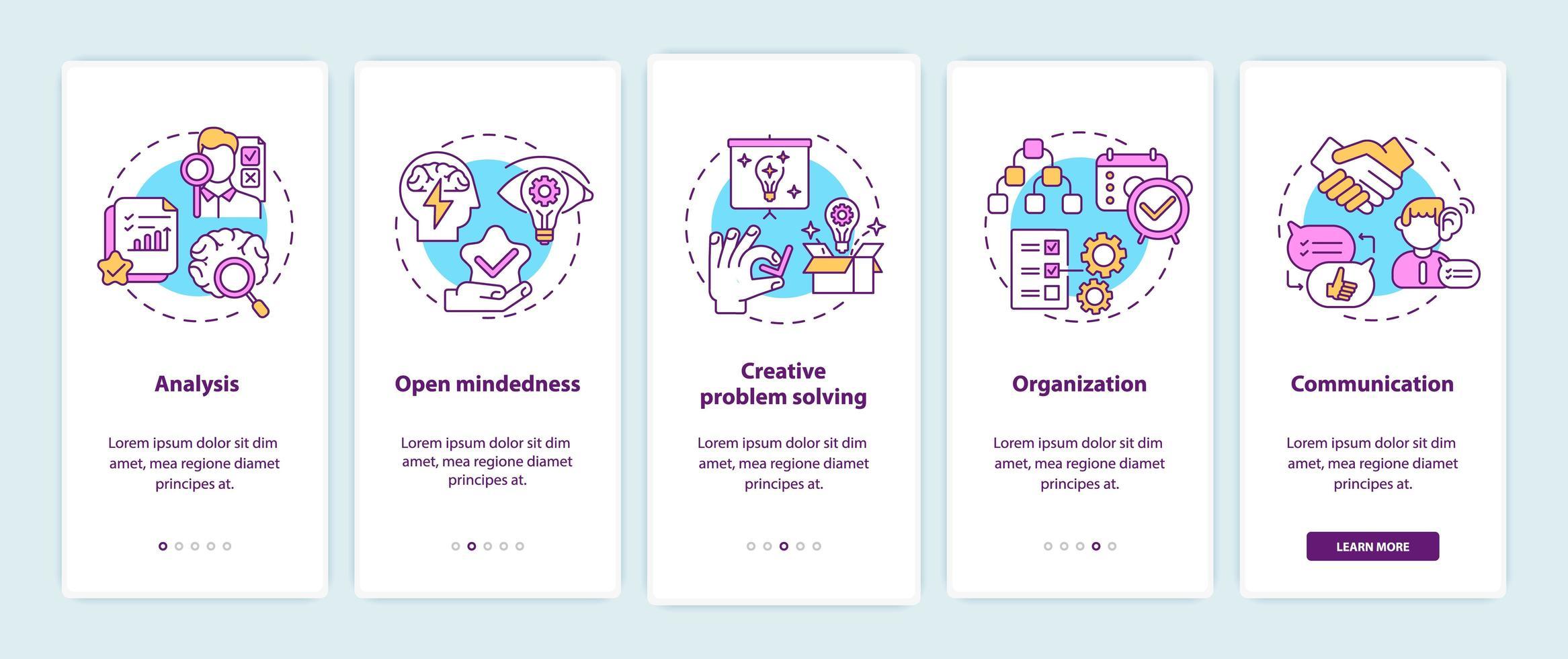 écran de la page de l'application mobile d'intégration des types de pensée créative vecteur