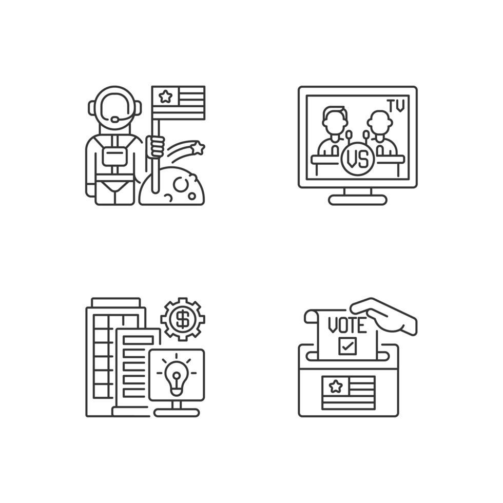 ensemble d'icônes linéaires des États-Unis. vecteur