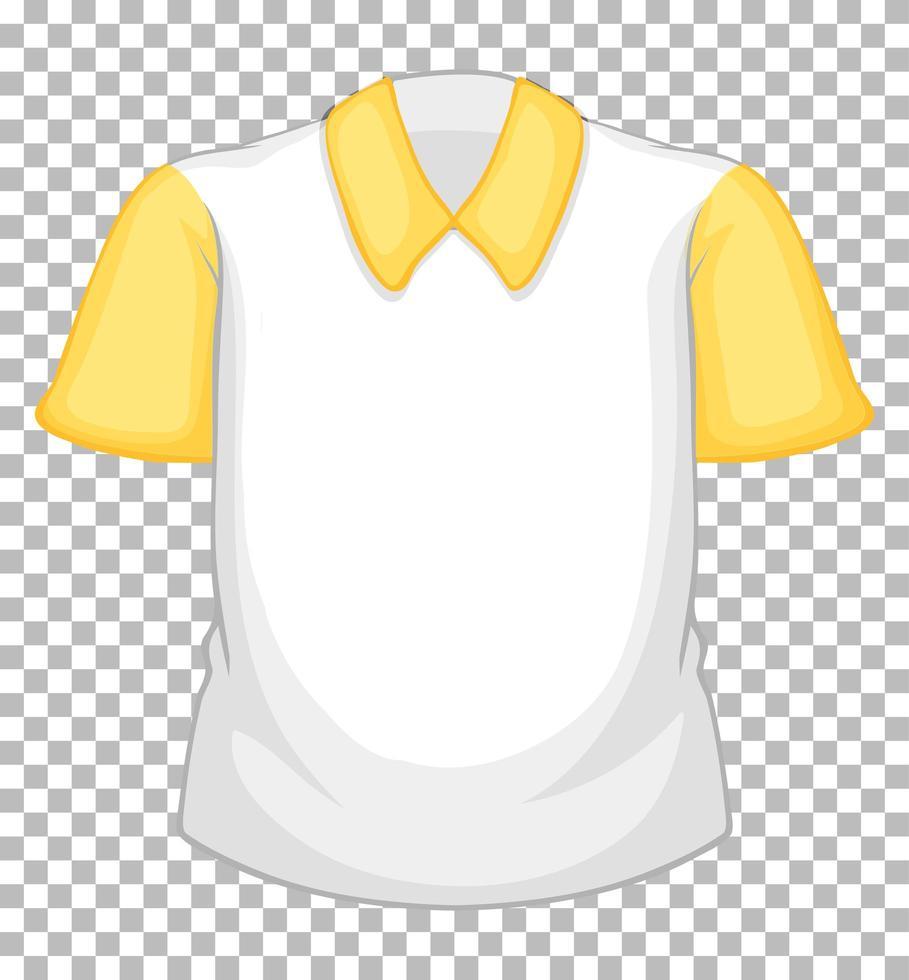 chemise blanche vierge à manches courtes jaune sur transparent vecteur