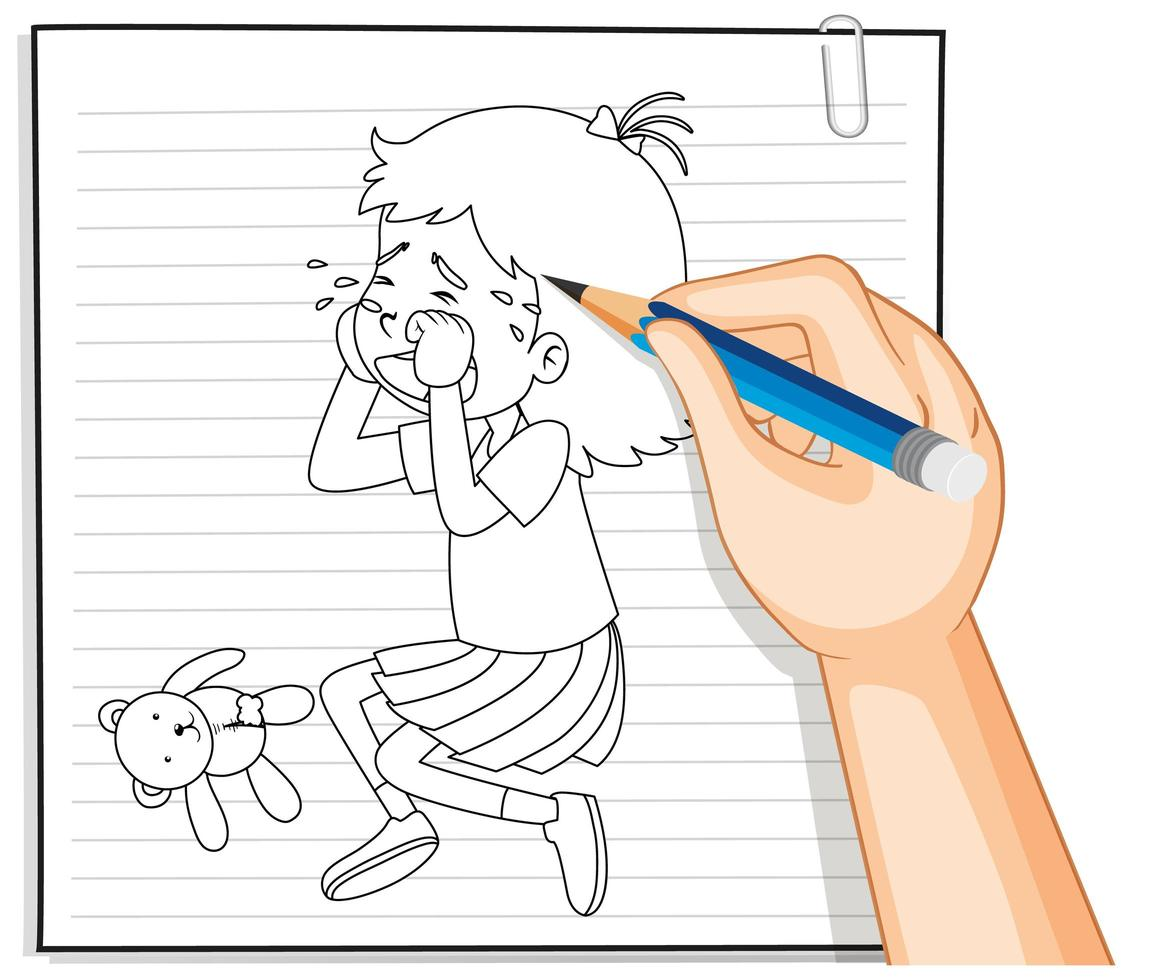 main, écriture, de, girl, pleurer, contour vecteur