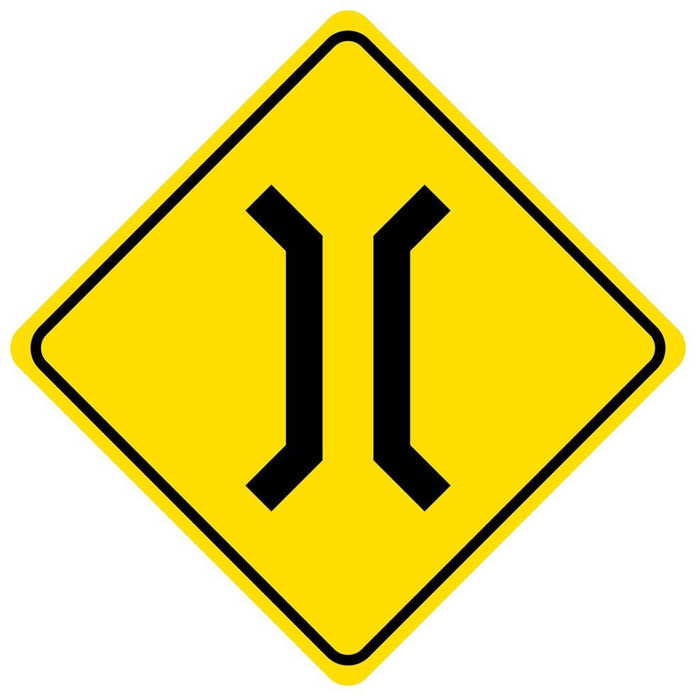 panneau d'avertissement pour un rétrécissement sur fond blanc vecteur