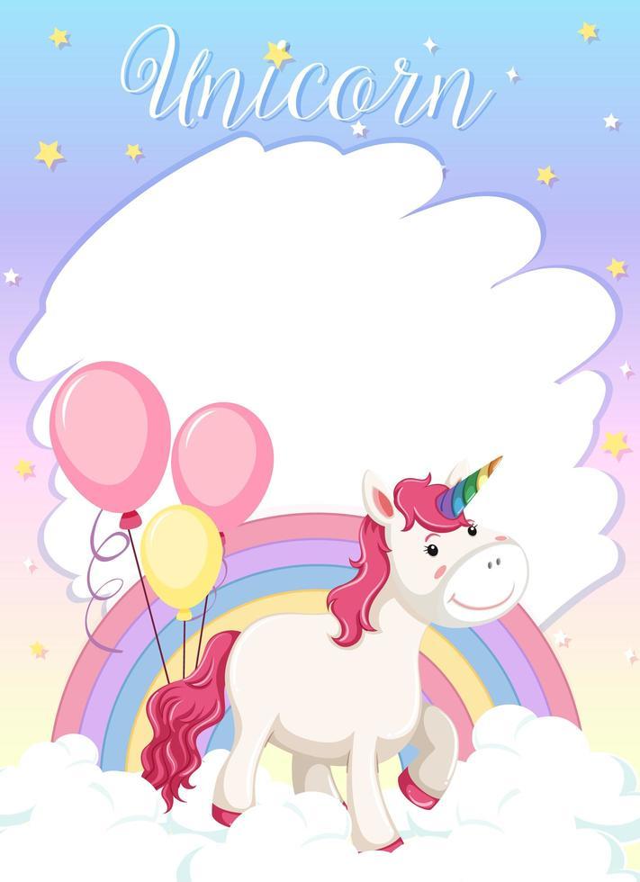 bannière vierge avec une licorne mignonne debout sur le nuage vecteur