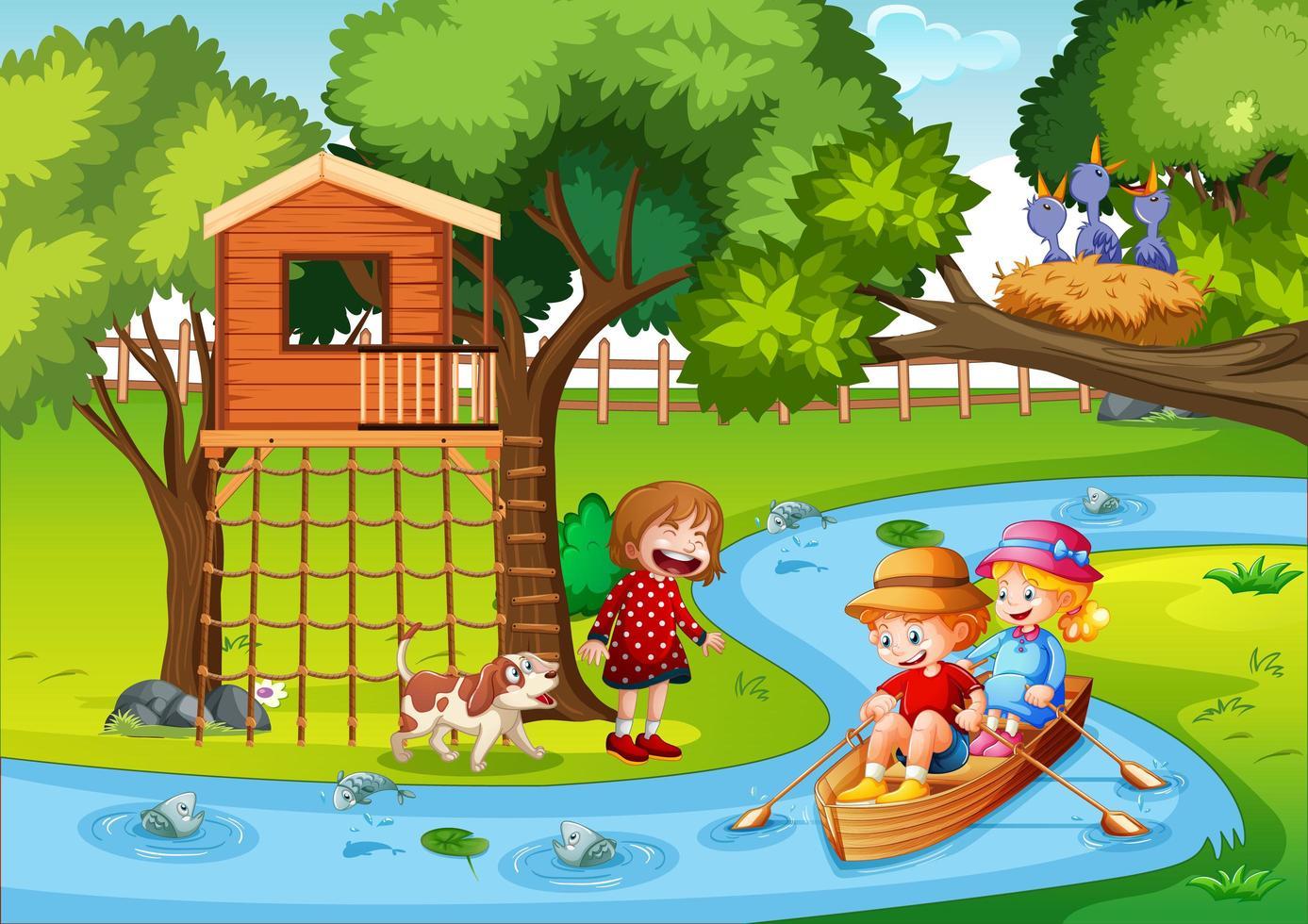 enfants rament le bateau dans la scène de la forêt du ruisseau vecteur