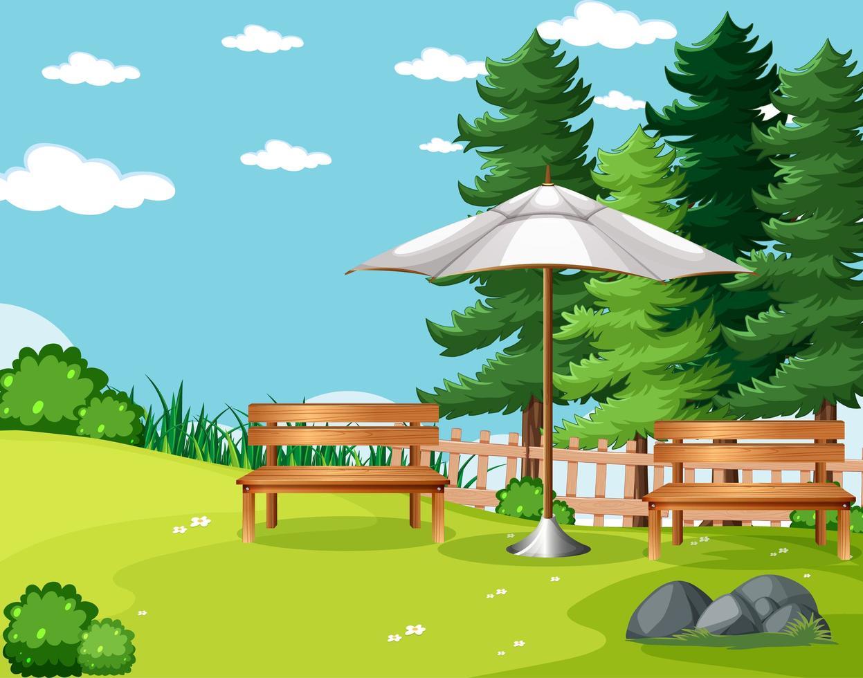 scène vide de pique-nique dans le parc naturel vecteur