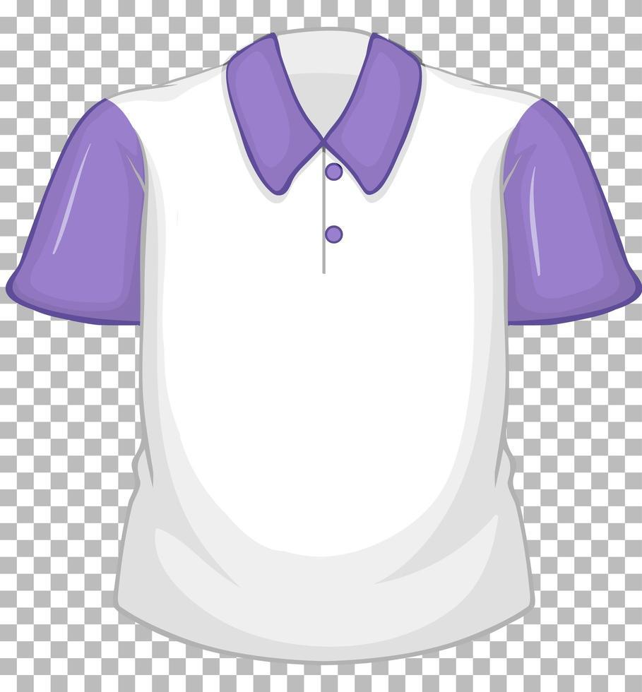 chemise blanche vierge à manches courtes violette sur transparent vecteur