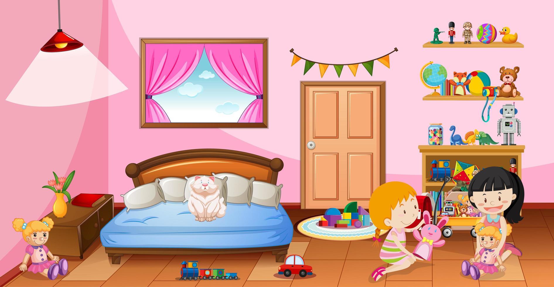 jolies filles jouant avec leurs jouets dans la scène de la chambre rose vecteur