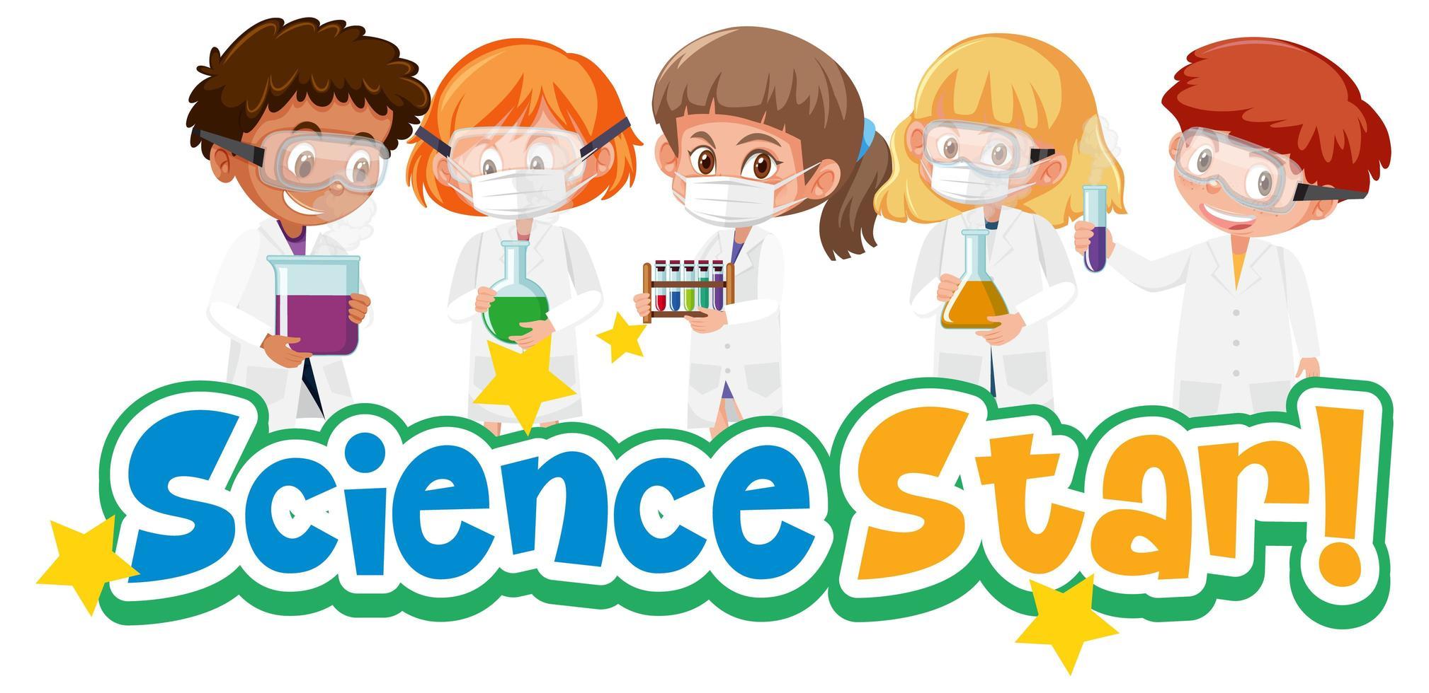 Étoile de la science avec kid holding objet scientifique expérimental isolé sur fond blanc vecteur