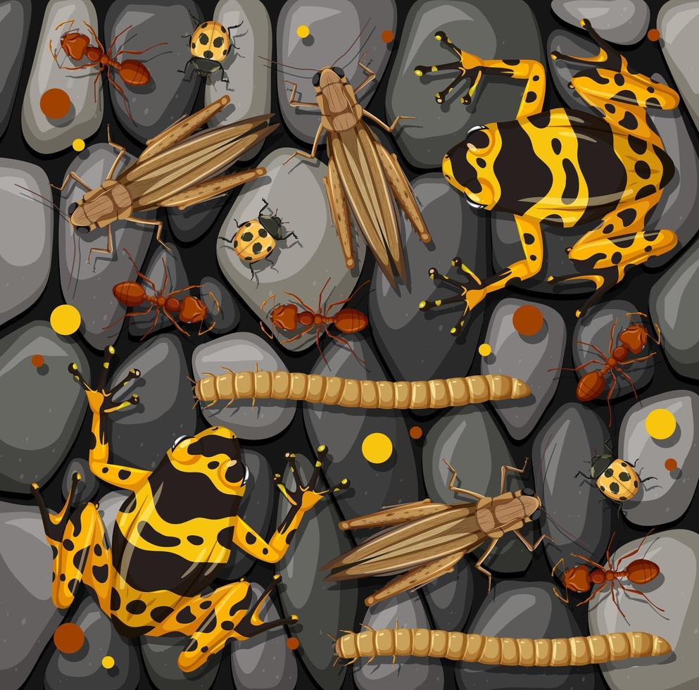 ensemble de différents insectes isolés sur la texture des pierres vecteur