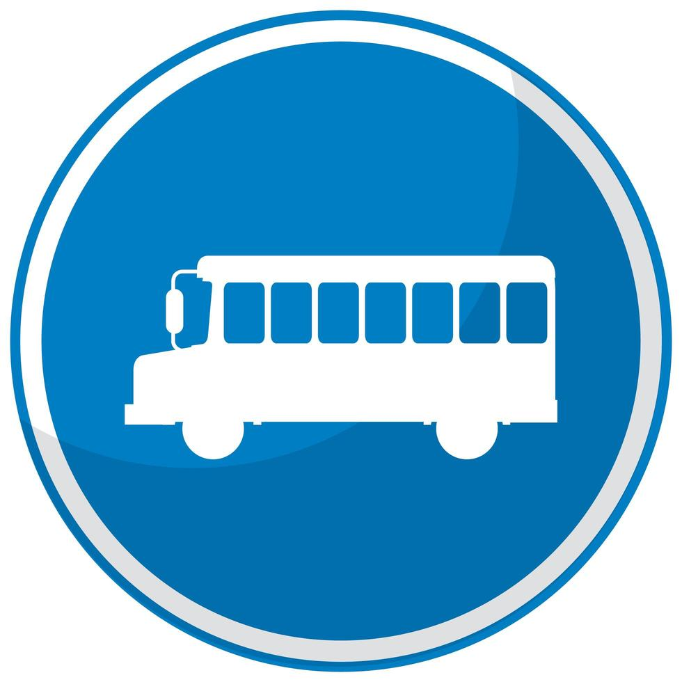 Panneau d'arrêt de bus bleu avec support isolé sur fond blanc vecteur