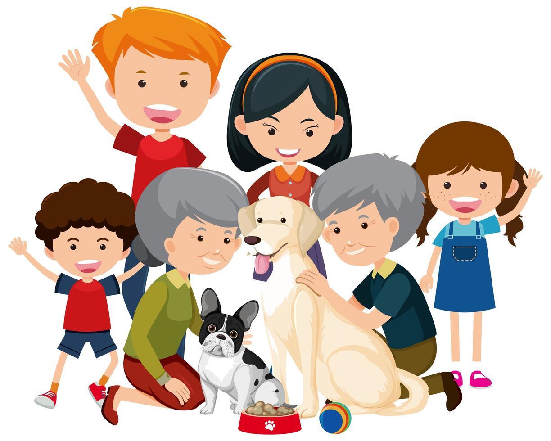 membres de la famille avec leur chien sur fond blanc vecteur