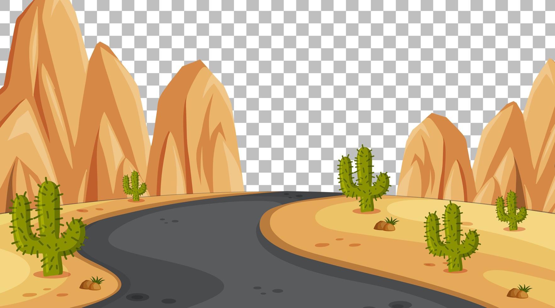 Scène de désert de nature vierge avec paysage de longue route sur fond transparent vecteur