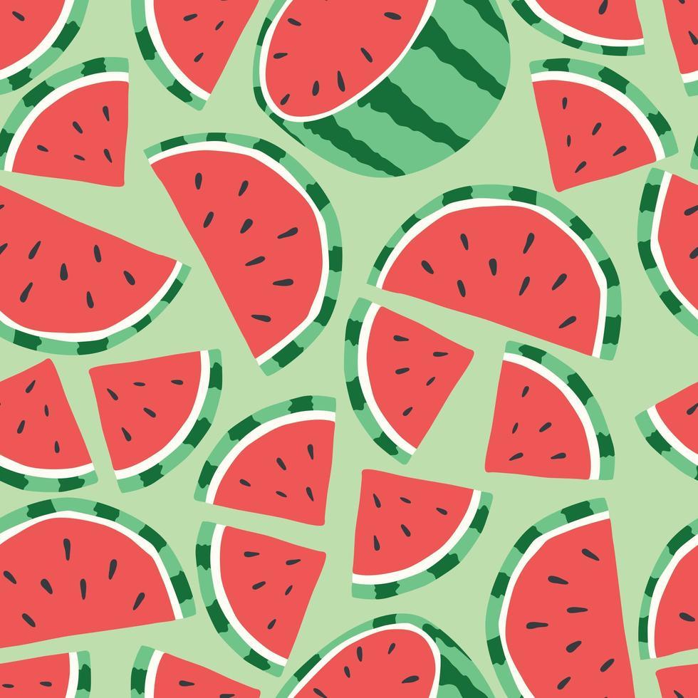 modèle sans couture de fruits, pastèque sur fond vert clair. vecteur