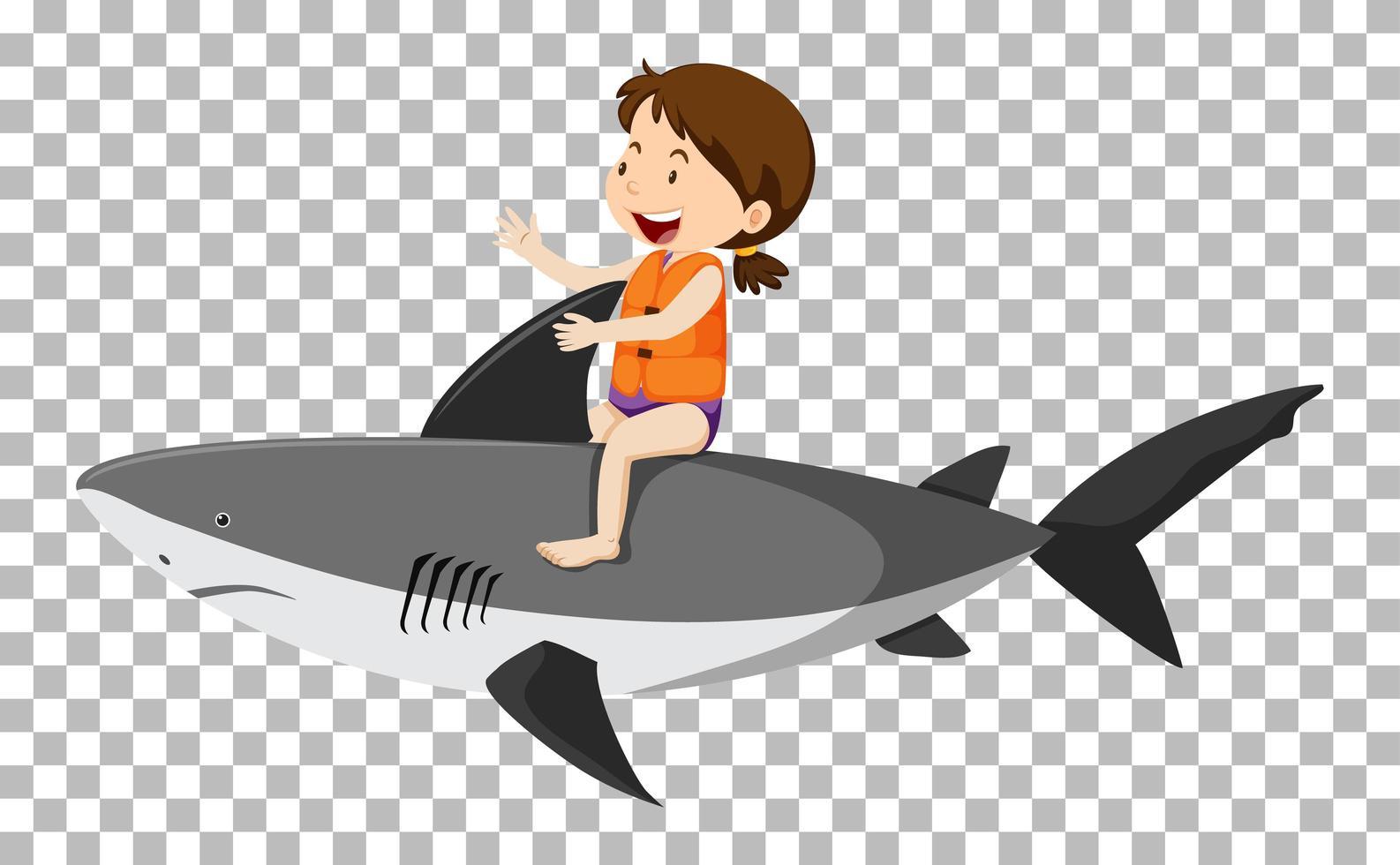 fille équitation requin isolé vecteur