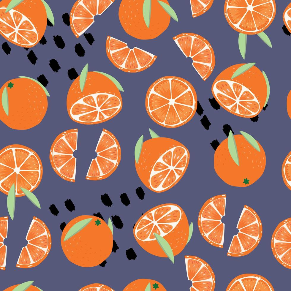 modèle sans couture de fruits, oranges avec feuilles vecteur