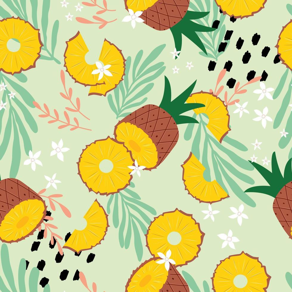 modèle sans couture de fruits, ananas aux feuilles tropicales vecteur