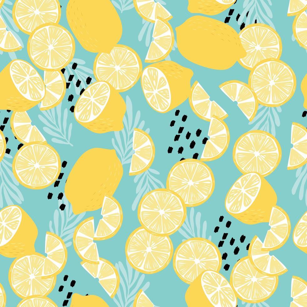 modèle sans couture de fruits, citrons aux feuilles tropicales vecteur