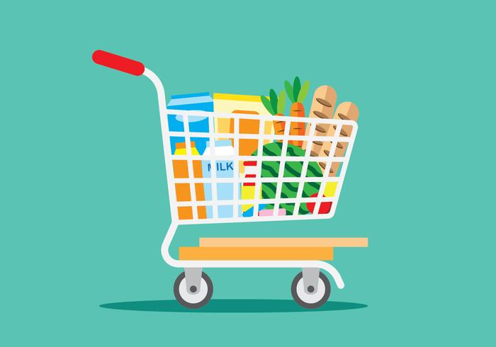 Shopping épicerie vecteur