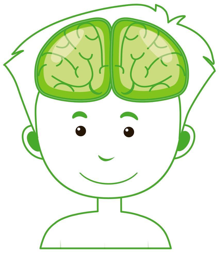 symbole isolé humain avec contour du cerveau vecteur