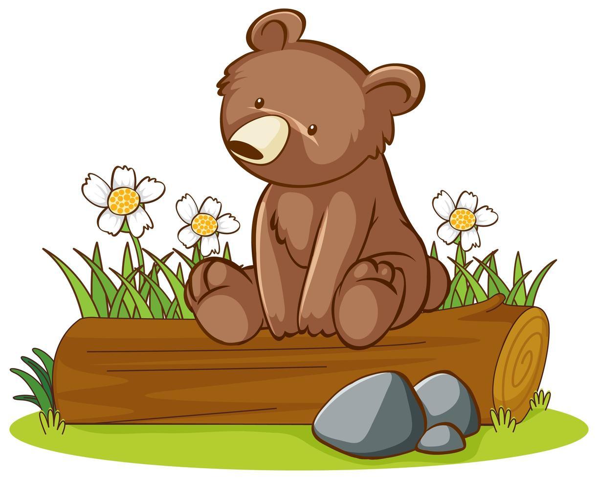 Photo isolée de l'ours grizzli sur journal vecteur