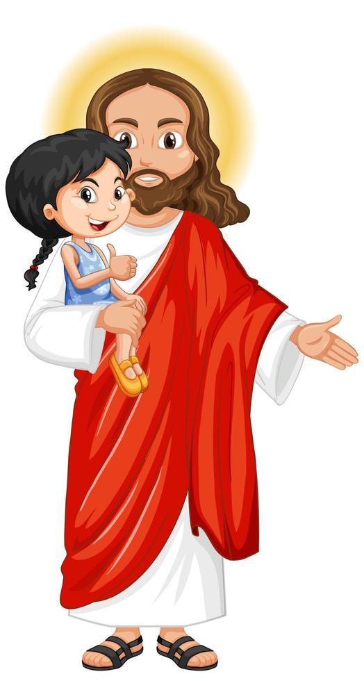 Jésus porte une jolie fille avec un sentiment de miséricorde vecteur
