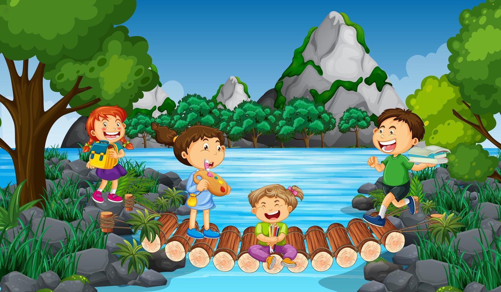 scène avec de nombreux enfants dans le parc vecteur