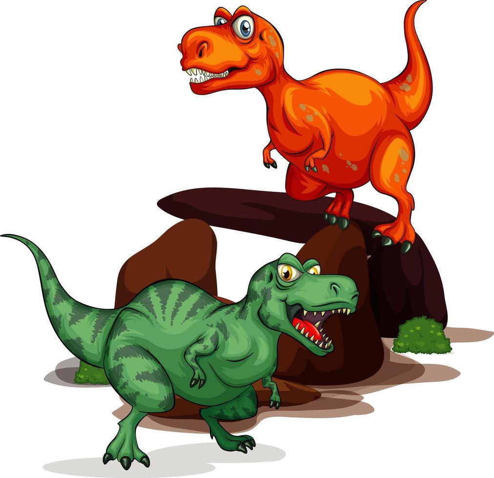 personnage de dessin animé de deux dinosaures isolé sur blanc bcakground vecteur