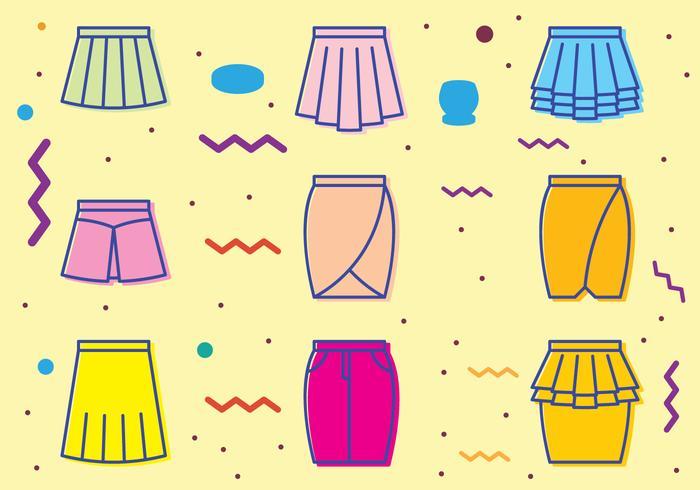 Icônes rétro de jupe vecteur