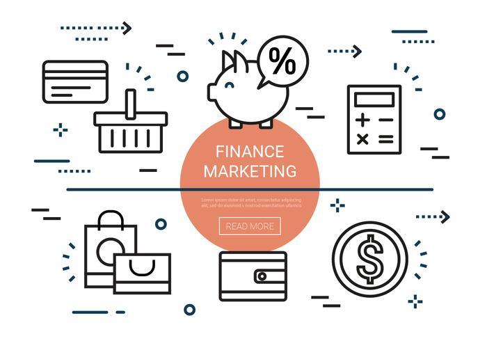 Éléments gratuits de marketing de financement linéaire vecteur