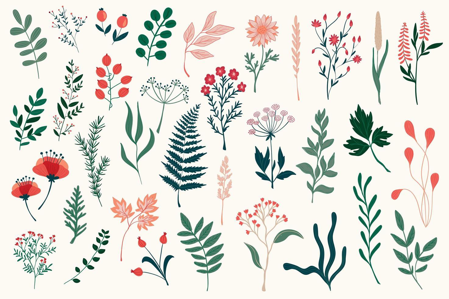 lot d'éléments décoratifs floraux colorés vecteur
